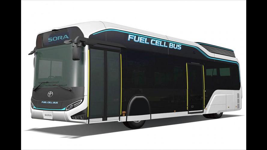 Toyotas Brennstoffzellen-Bus Sora mit Wasserstoff im Tank