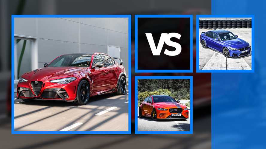 Alfa Giulia GTA vs BMW M3 CS vs Jaguar XE Project 8