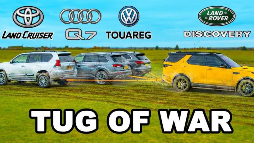 Audi Q7, VW Touareg, Land Cruiser vs Discovery in tug of war