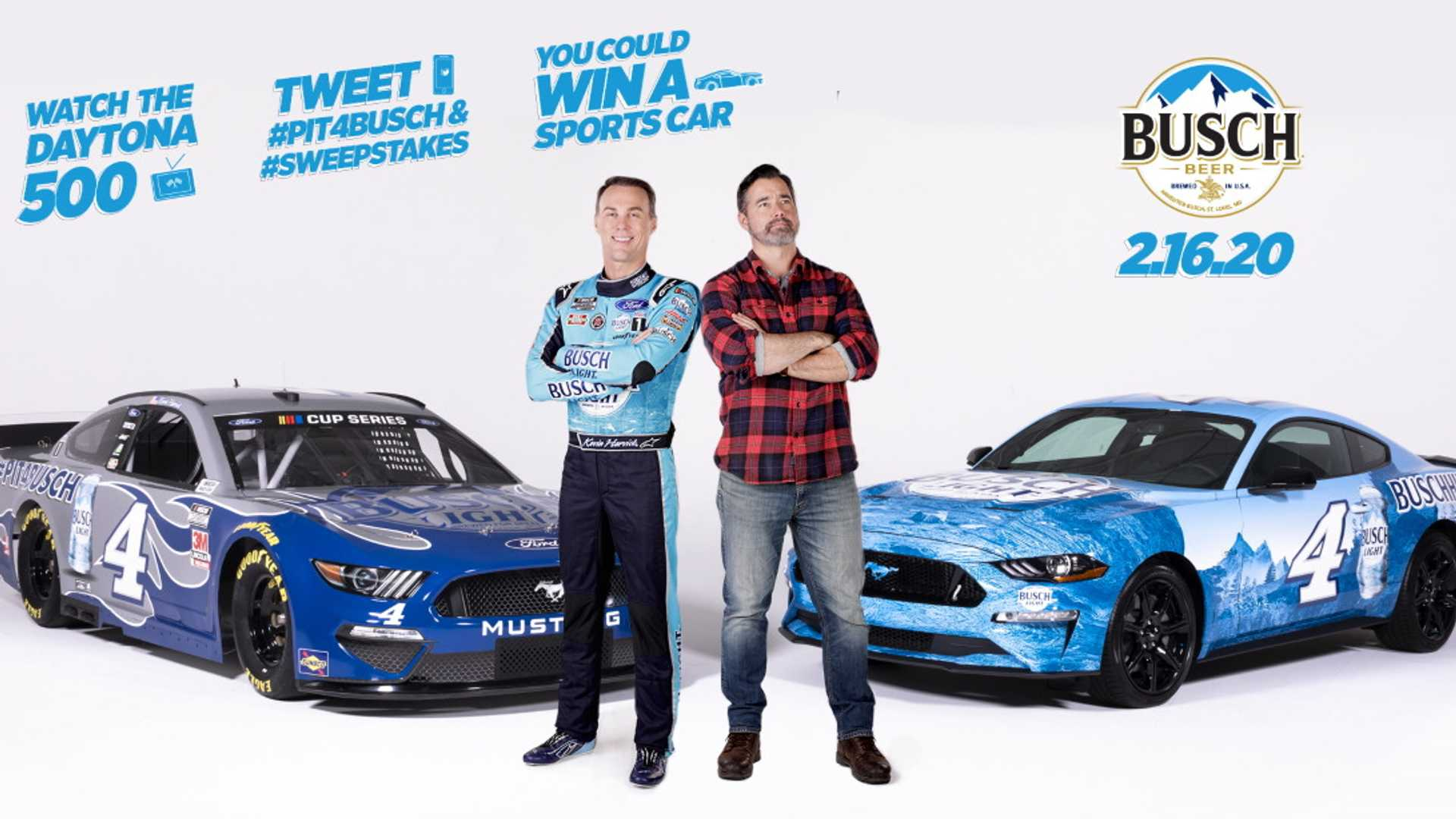 "[""Busch Beer Giving Away Wrapped Ford Mustangs During Daytona 500""]"