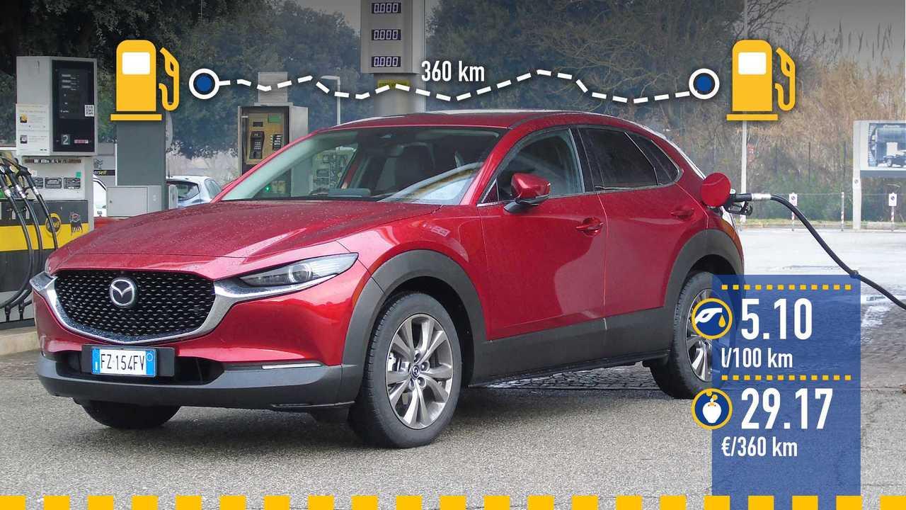 Mazda CX-30 Skyactiv-X, la prova consumi