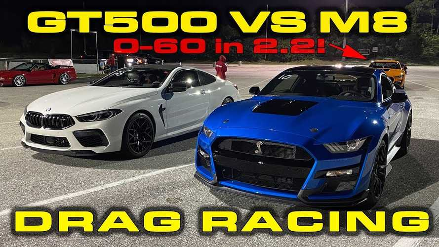 Shelby GT500 Fights BMW M8 Competition On The Drag Strip