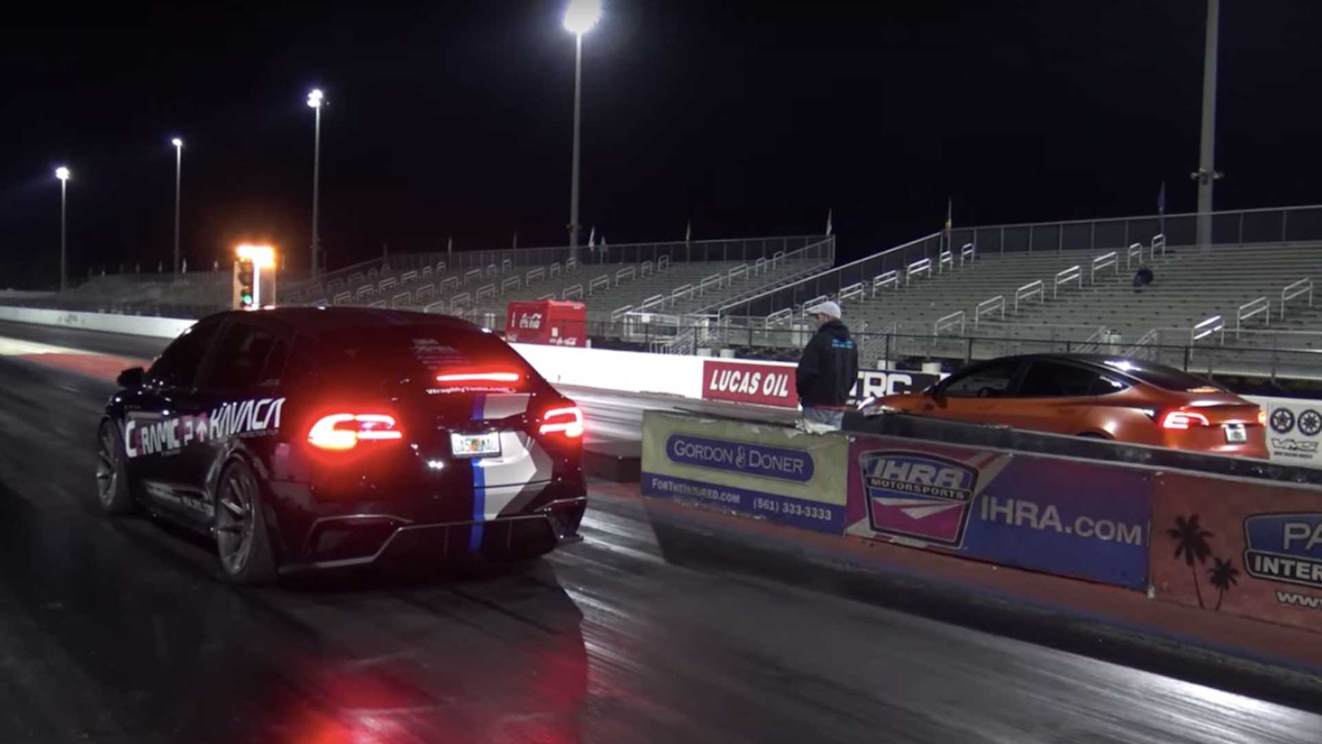 See Tesla Model 3 Performance Drag Race Model X Raven