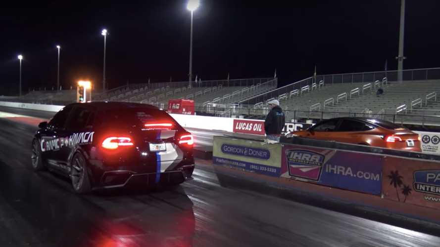 See Tesla Model 3 Performance drag race Model X Raven
