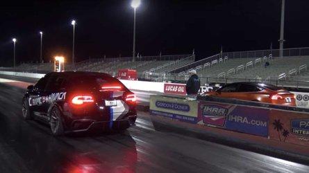 Watch Tesla Model 3 Performance Drag Race Model X Raven