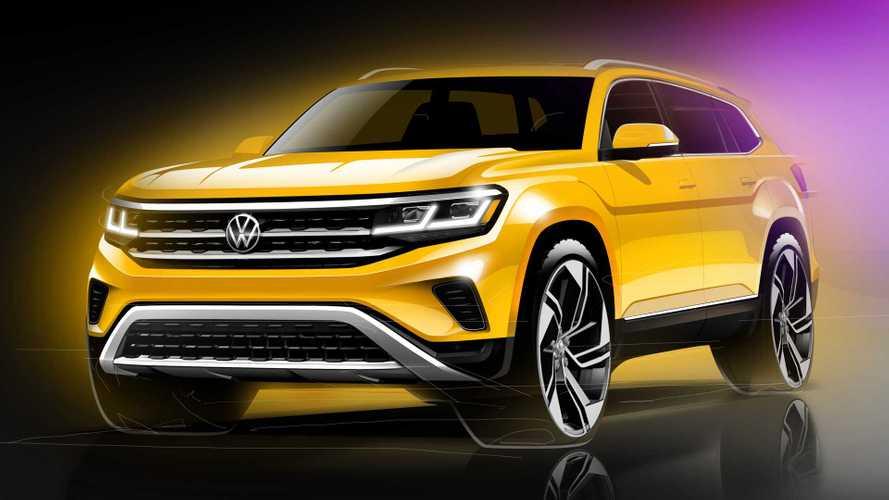 Volkswagen Atlas 2021 mostrada en bocetos desde tres ángulos distintos