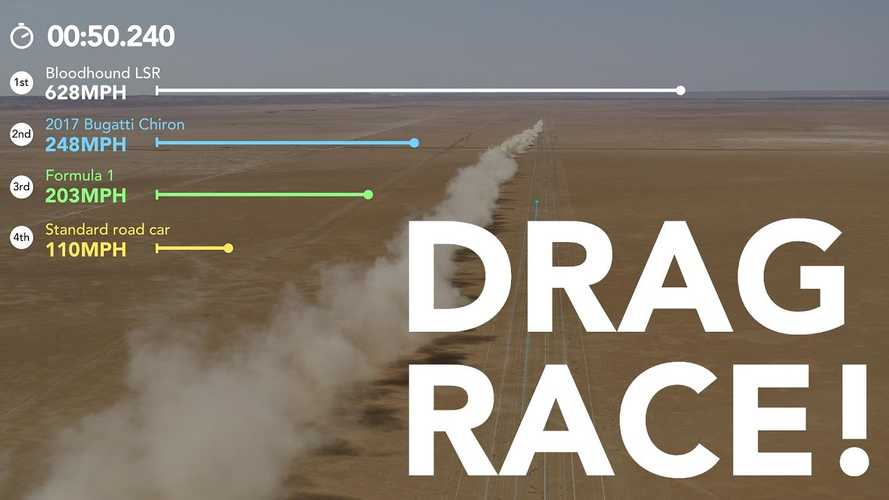 Bloodhound LSR drag race simulation pits it against Chiron, F1 car