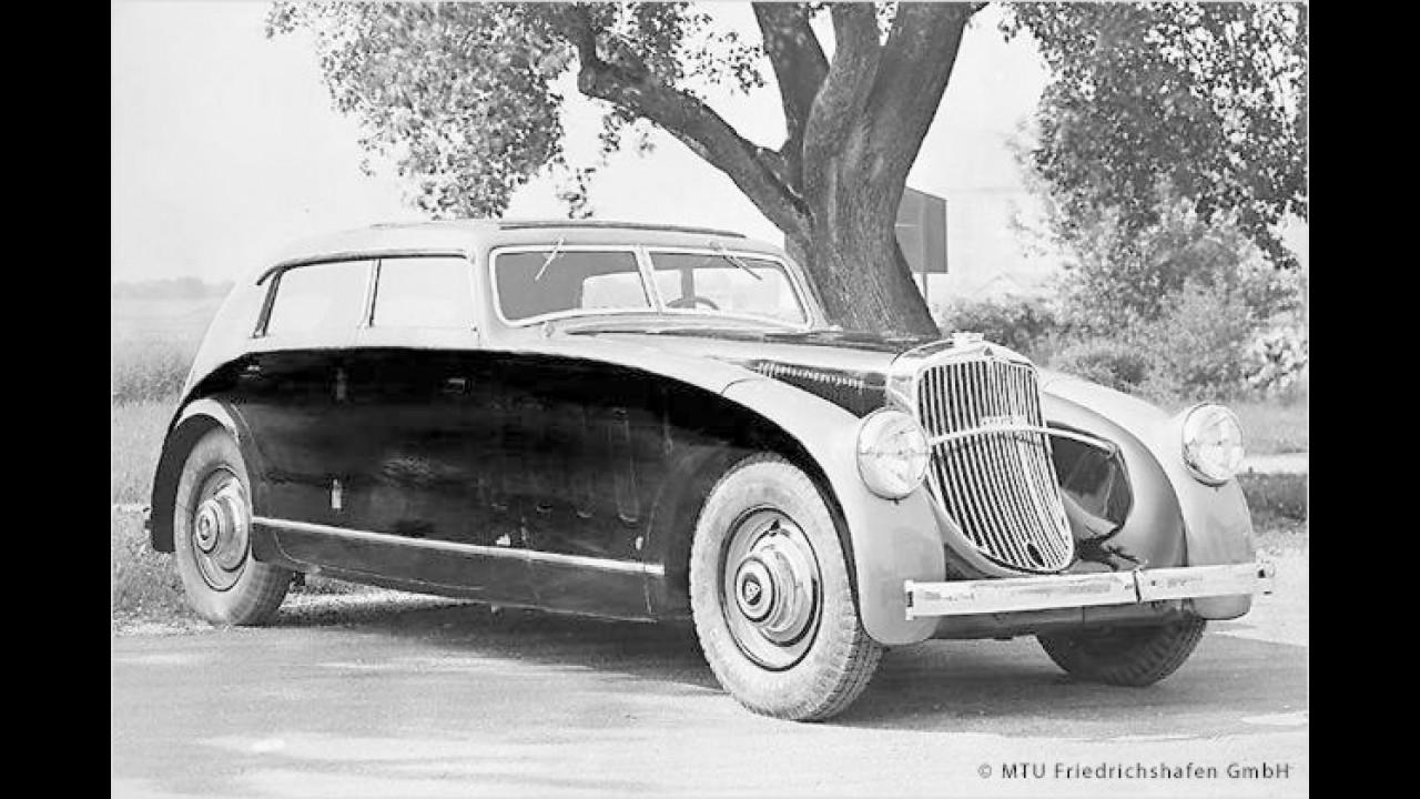 1932 in Genf: Das Schnellfahrzeug Maybach Zeppelin mit Stromlinien-Karosserie war bis zu 165 km/h schnell