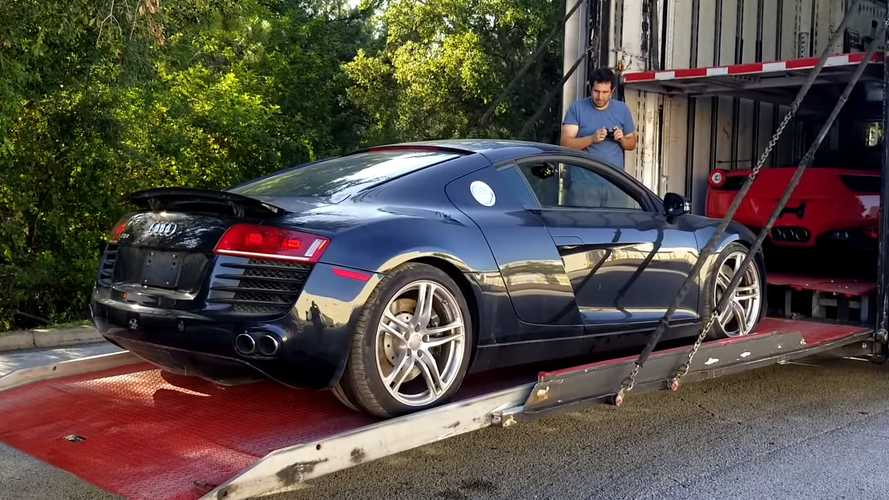 This Is Actually A Totaled Audi R8 And Someone Is Rebuilding It
