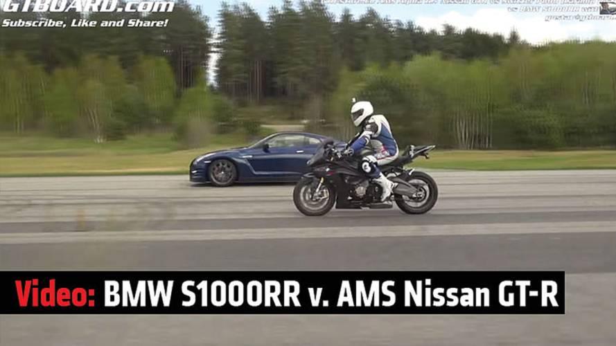 Video: BMW S 1000 RR v. AMS Nissan GT-R