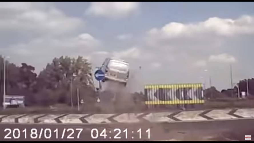 Watch This Van Get Insane Air After Crashing Into Roundabout