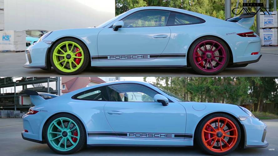 Porsche 911 GT3 oddly specced with different colour wheels