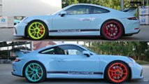 Porsche 911 GT3 with different colour wheels