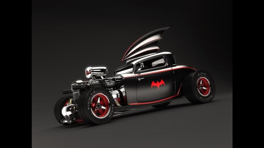 E se o Batman usasse um batmóvel hot rod?