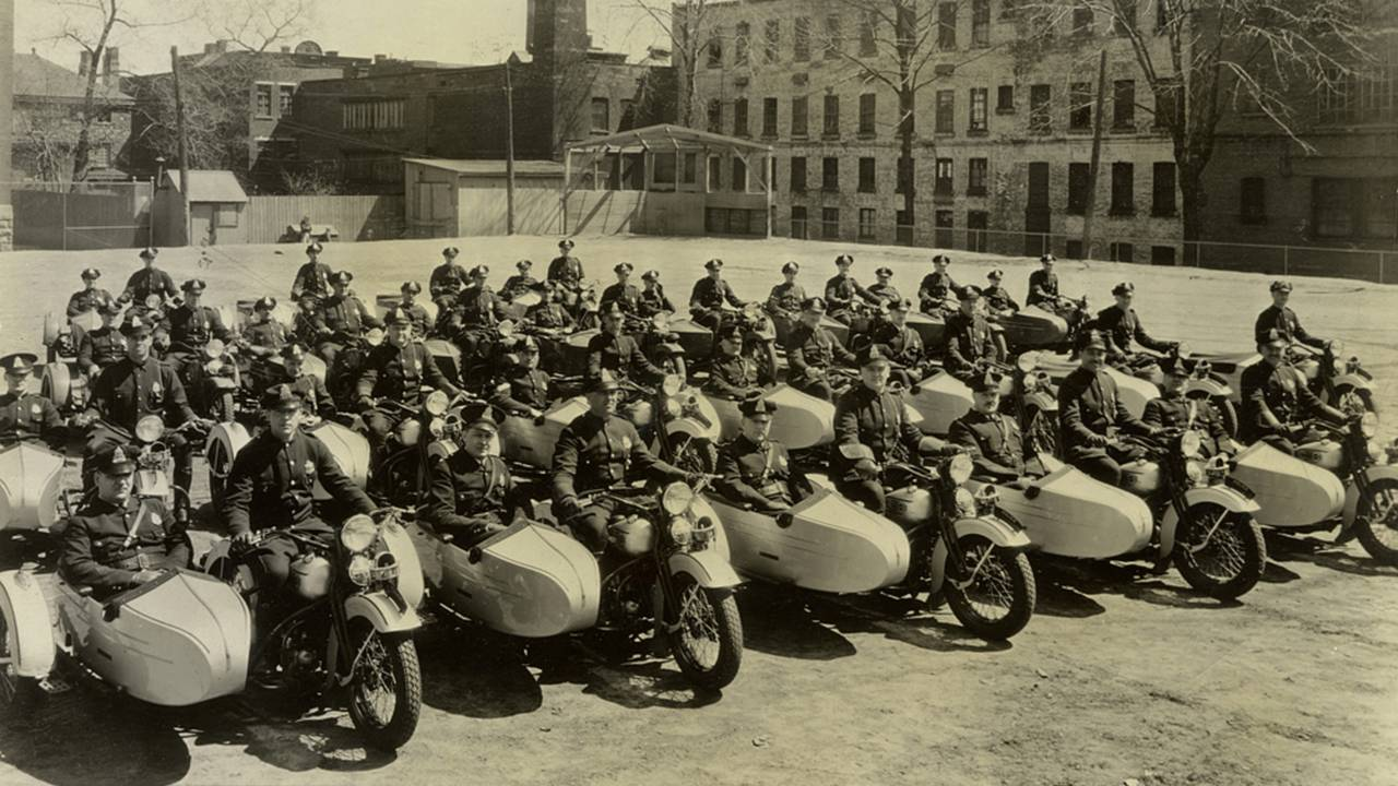 Police officers from Montreal, Canada with sidecar rigs, circa 1937. Photo courtesy of the HD Archives.