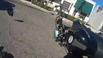 driver runs into motorcyclist after hes told to stop texting