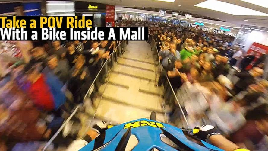 Take a POV Ride With a Bike Inside A Mall
