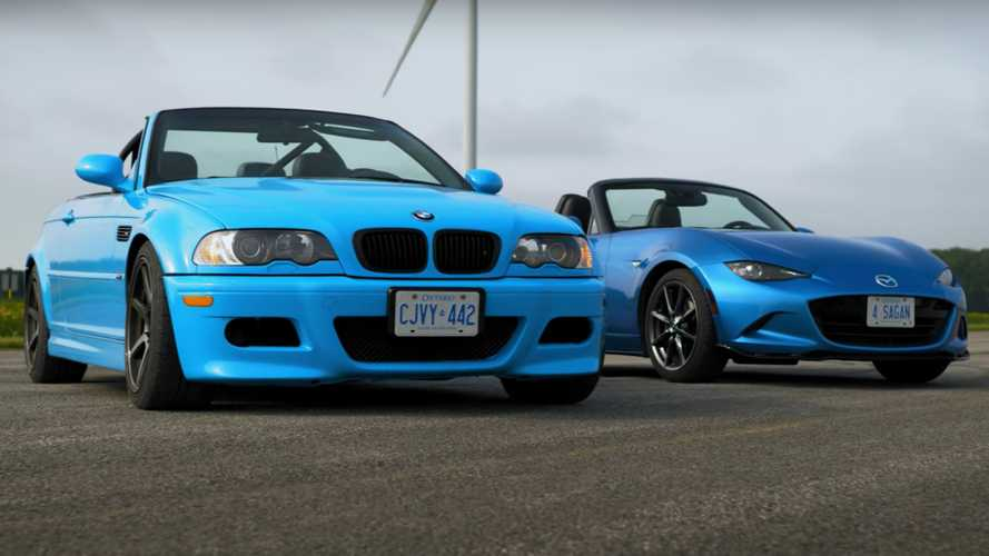 BMW E46 M3 vs MX-5 drag race doesn't make sense but looks a lot of fun