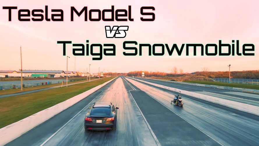 Watch electric snowmobile drag race Tesla Model S P85 and win