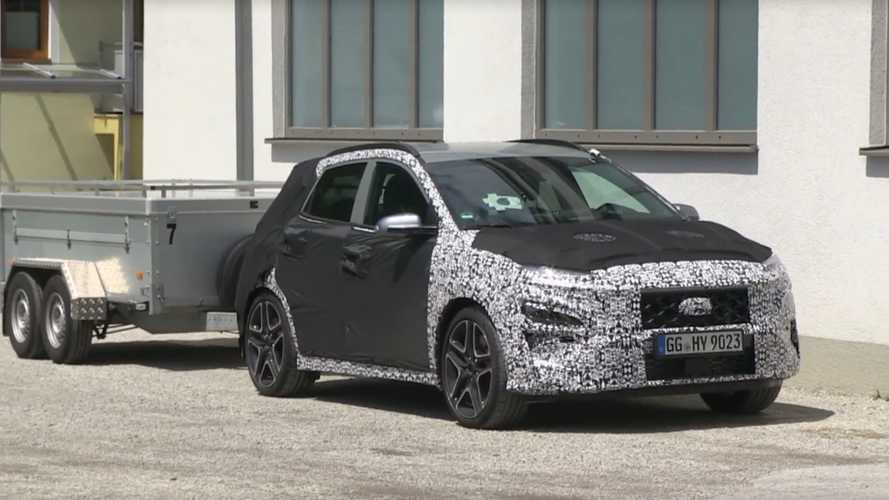 Hyundai Kona N spied at work towing dynamometer