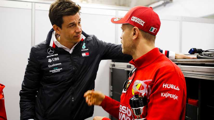 Toto Wolff, Executive Director (Business), Mercedes AMG and Sebastian Vettel, Ferrari