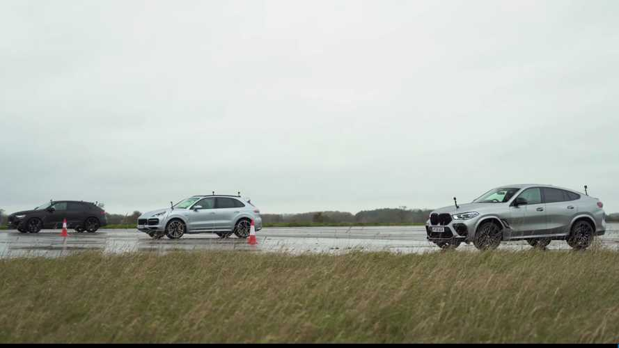 Audi RS Q8, BMW X6 M, and Porsche Cayenne Turbo S E-Hybrid drag race