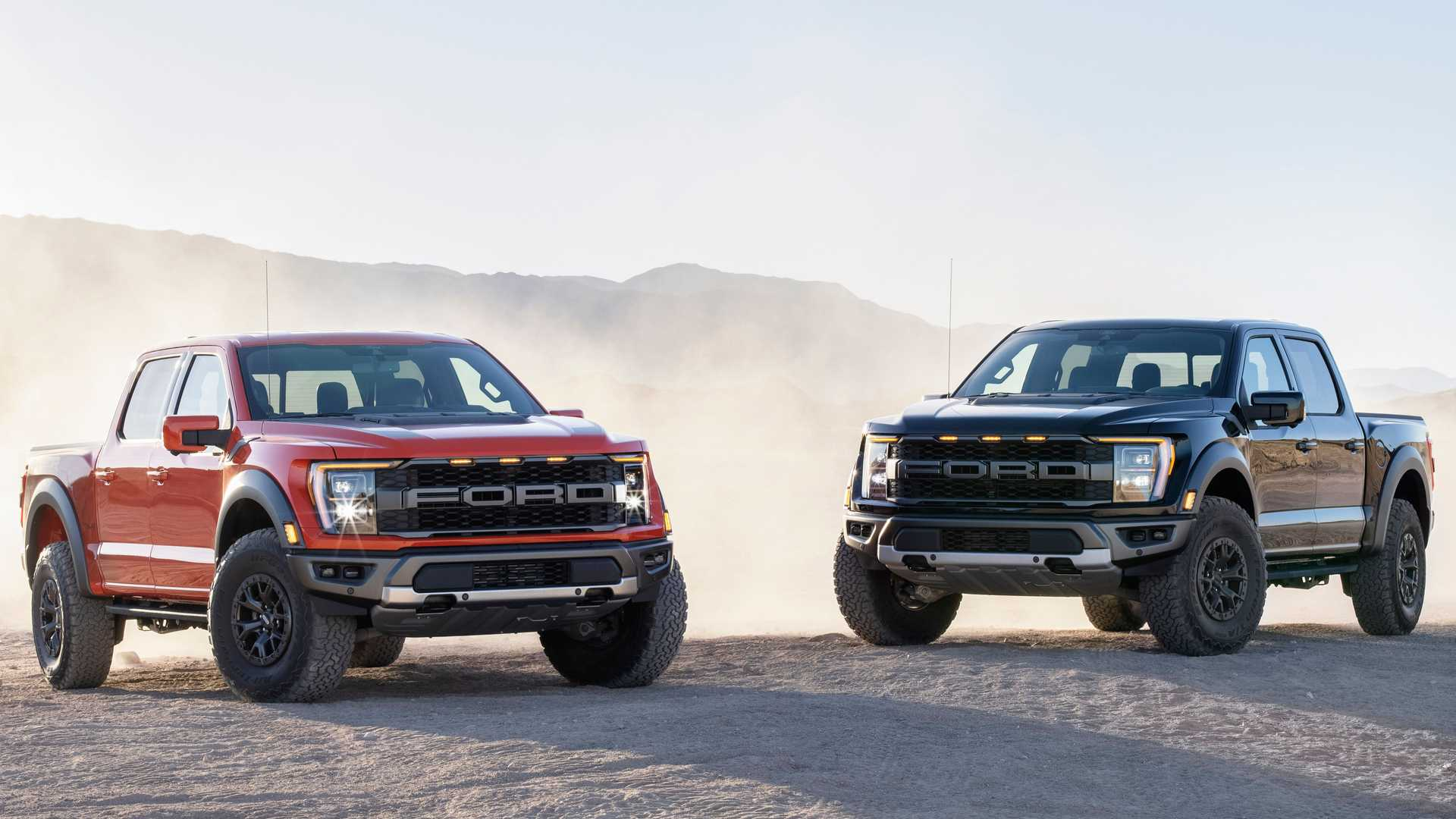 2021 Ford F-150 Raptor in red and black