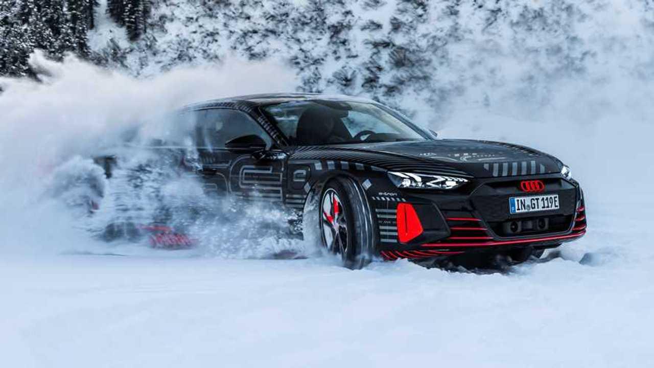 Audi E-Tron GT Teased Drift Snow