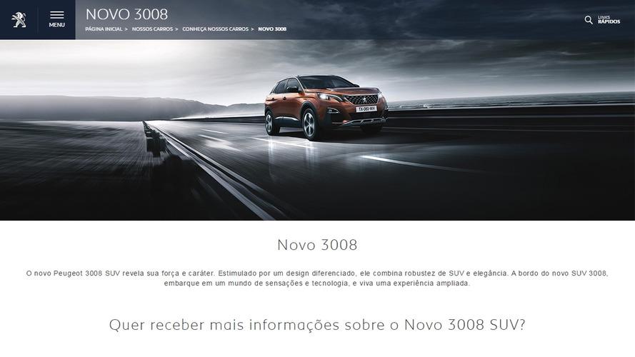 Novo Peugeot 3008 já tem site oficial no Brasil