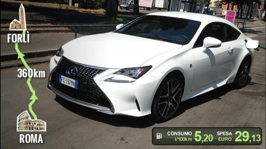 Lexus RC Hybrid, la prova dei consumi reali