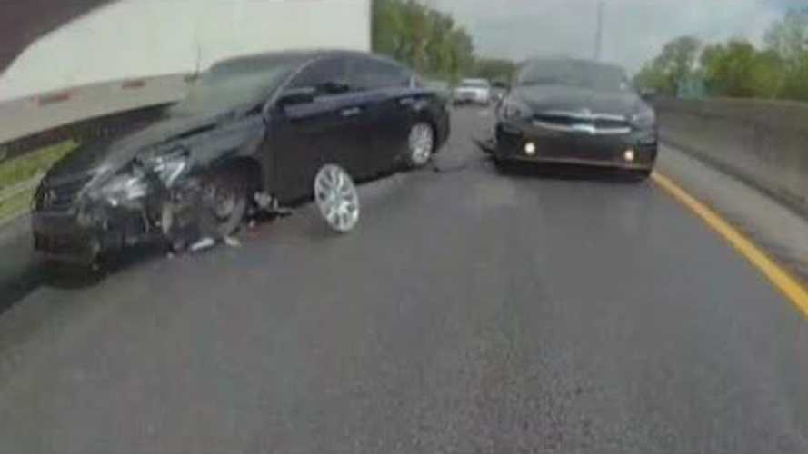TeslaCam Captures Insane Crash: Car Dragged Down Highway By Semi