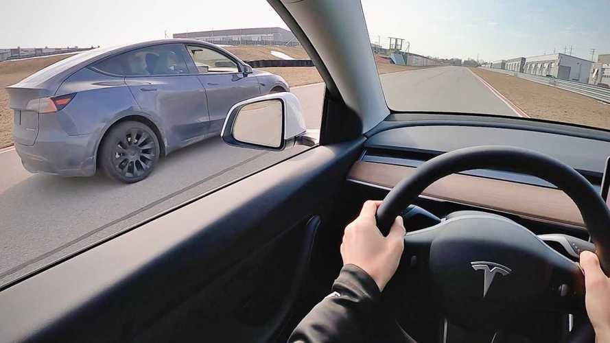 Watch A Tesla Model Y Standard Range And Model Y Long Range Drag Race