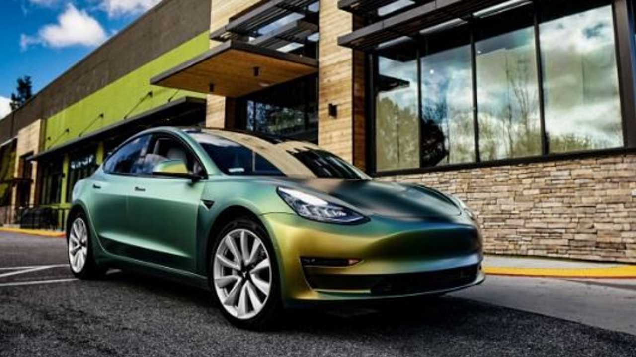 green color changing tesla model 3