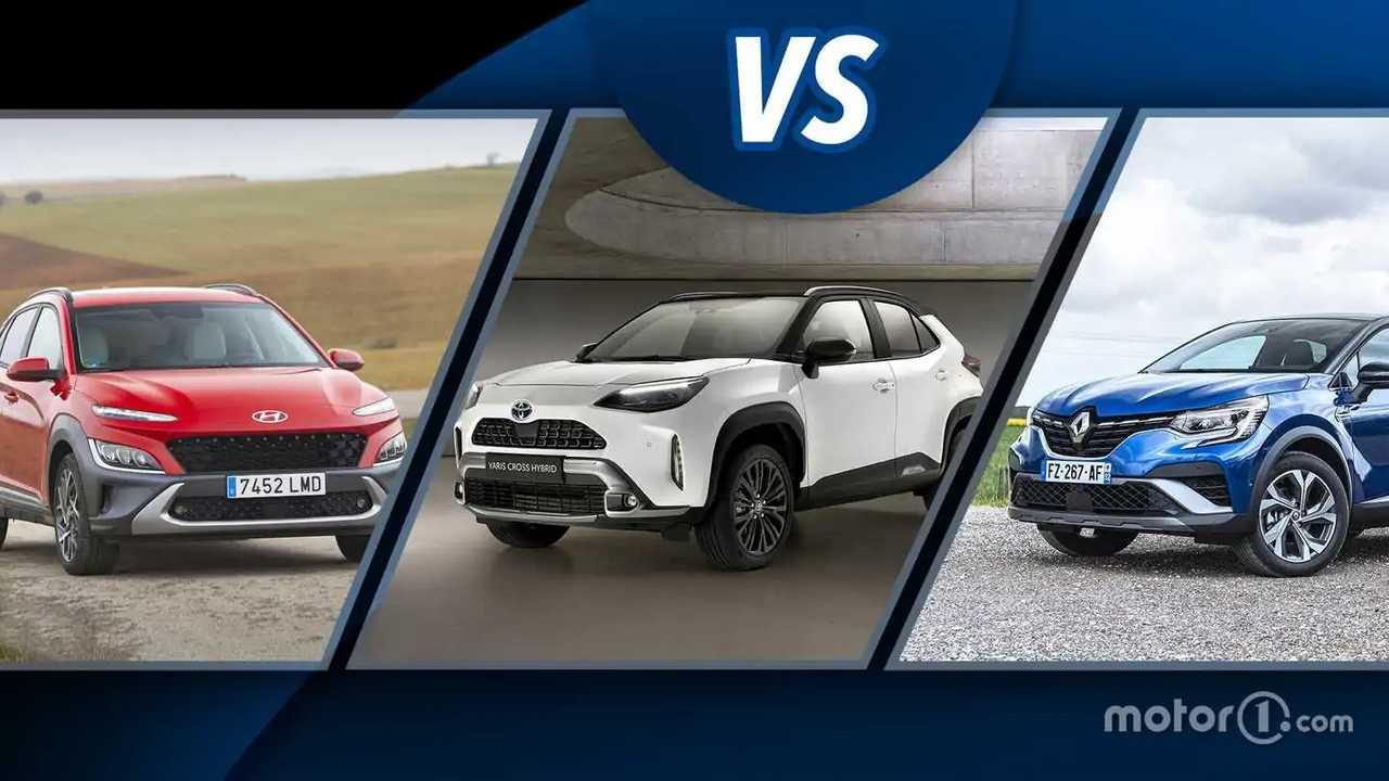 Toyota Yaris Cross Hybrid vs Hyundai Kona Hybrid e Renault Captur E-Tech Hybrid