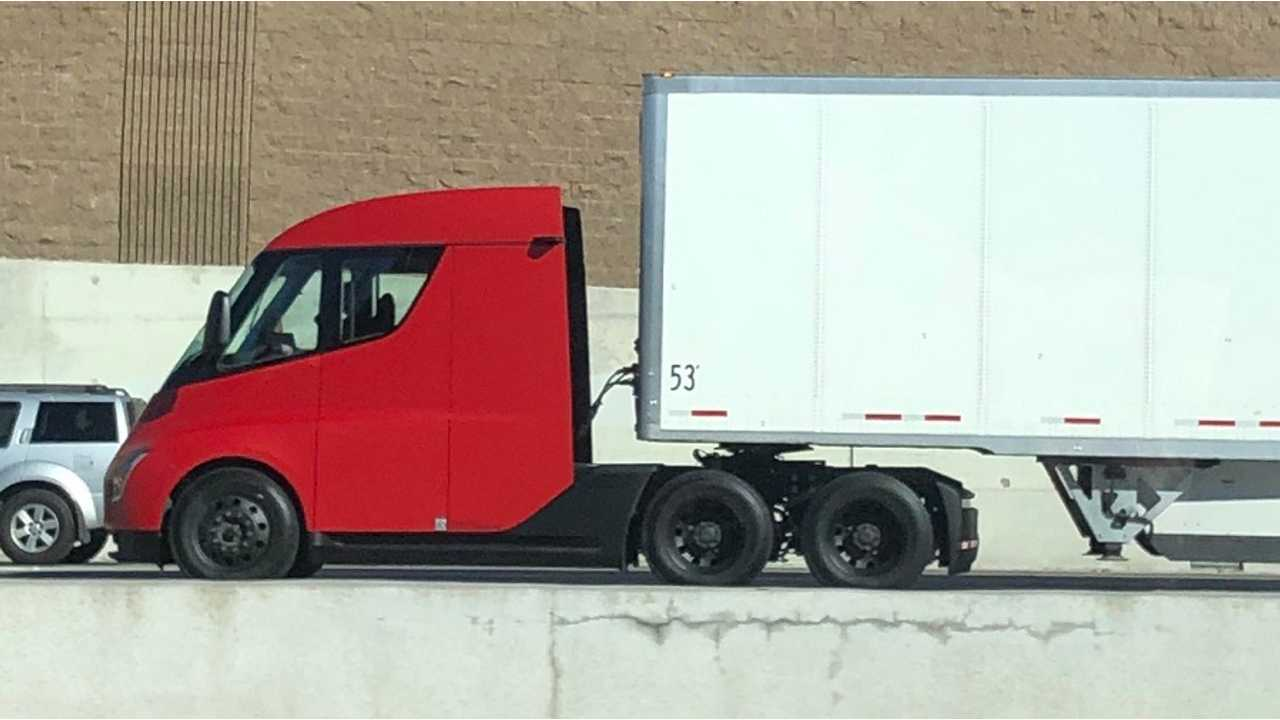 Red Tesla Semi Spotted