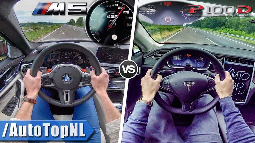Watch Tesla Model S P100D Take On BMW M5 F90