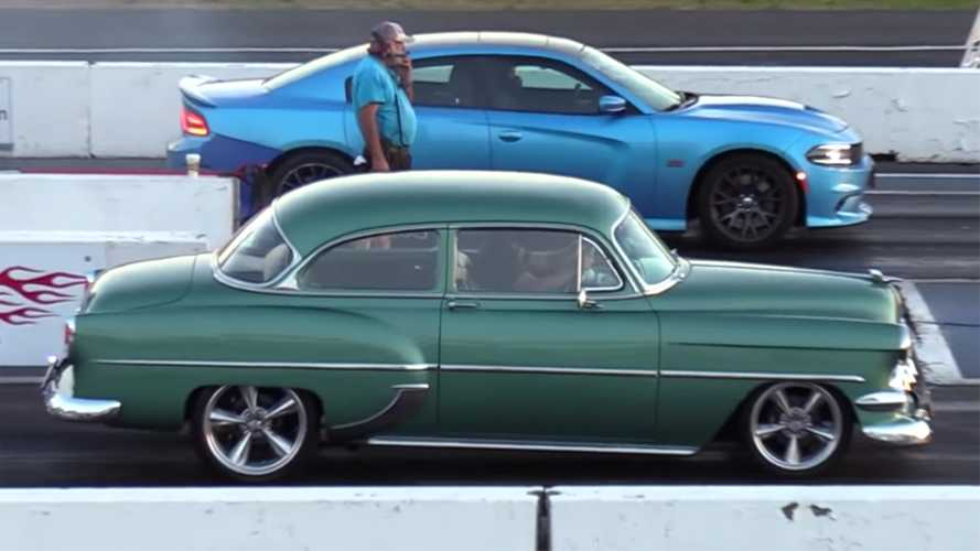 Classic Chevy Hot Rod Drag Races Modern Dodge Charger Hellcat