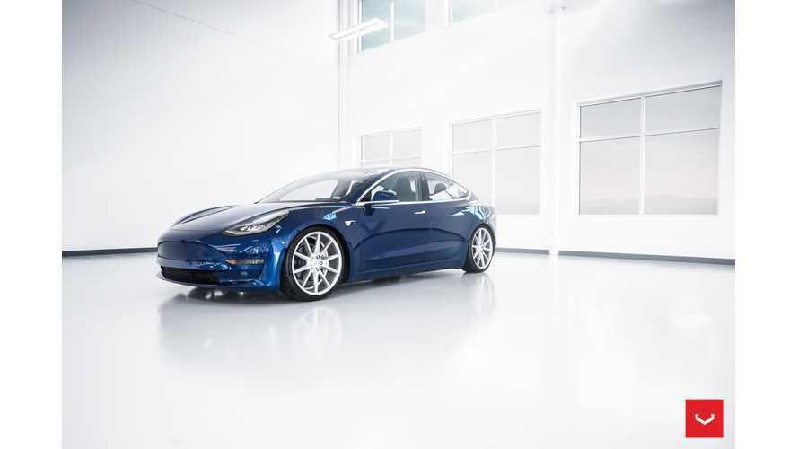 Tesla Model 3 In Deep Blue Metallic Stuns With Vossen Wheels