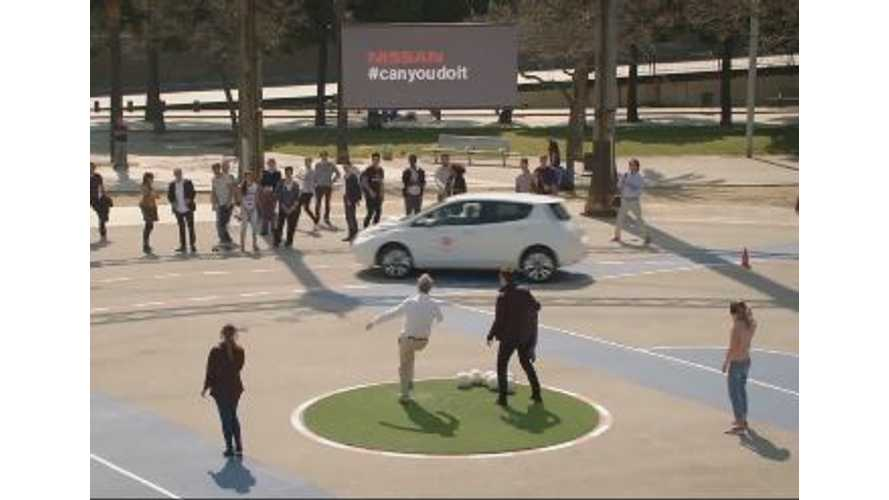 Fans Try To Hit A Moving Nissan LEAF With A Soccer Ball While Blindfolded - Video