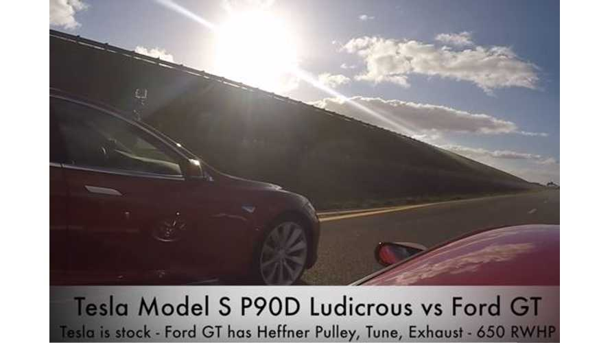 Ludicrous Tesla Model S P90D Versus Ford GT - Drag Race Video