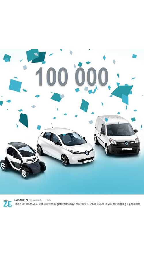 Renault Sells 100,000th Electric Vehicle