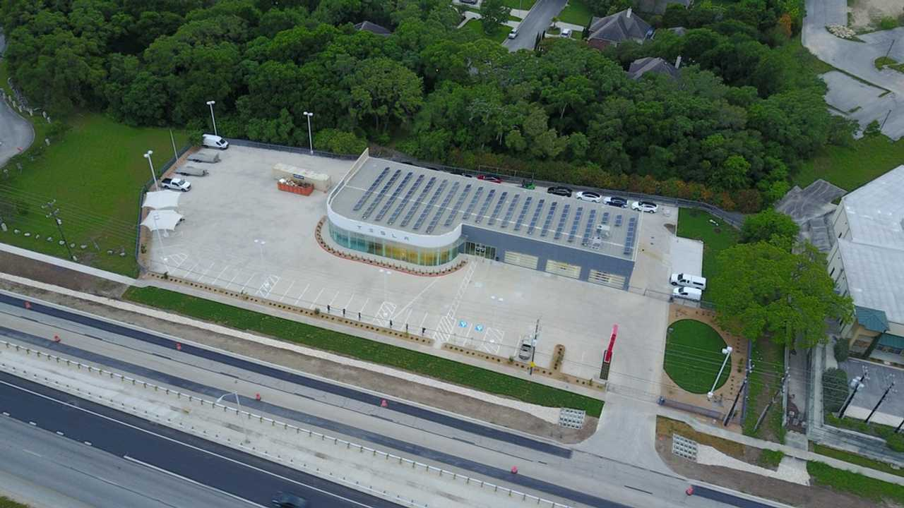 Drone Image Of Tesla's San Antonio Service Center Reveals Solar Roof