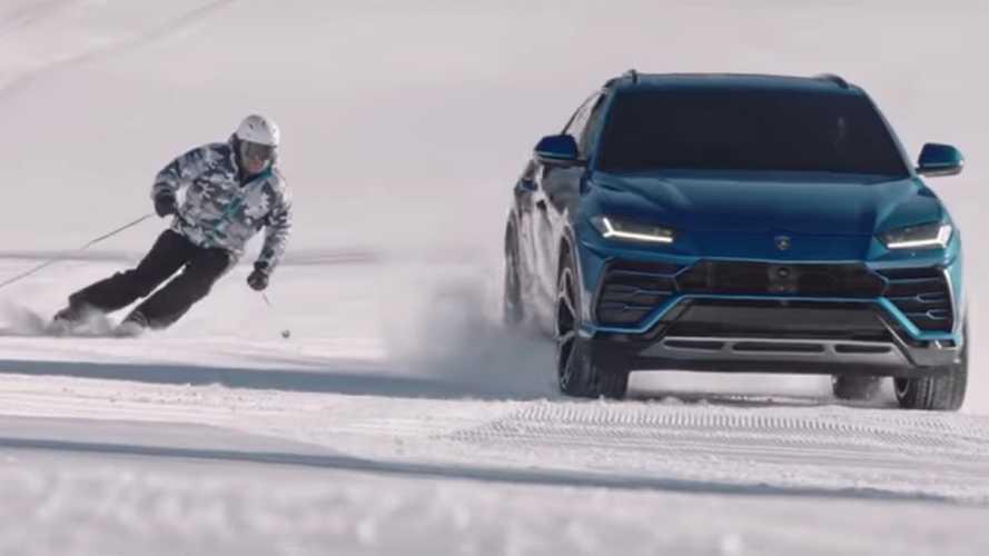 Lamborghini Urus sfida Alberto Tomba sulle piste da sci