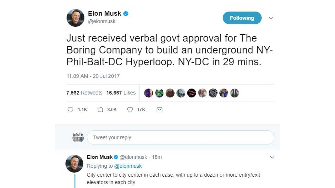 UPDATE: Musk's Boring Company Gets Ok To Build 29-Minute New York To D.C Underground Connector