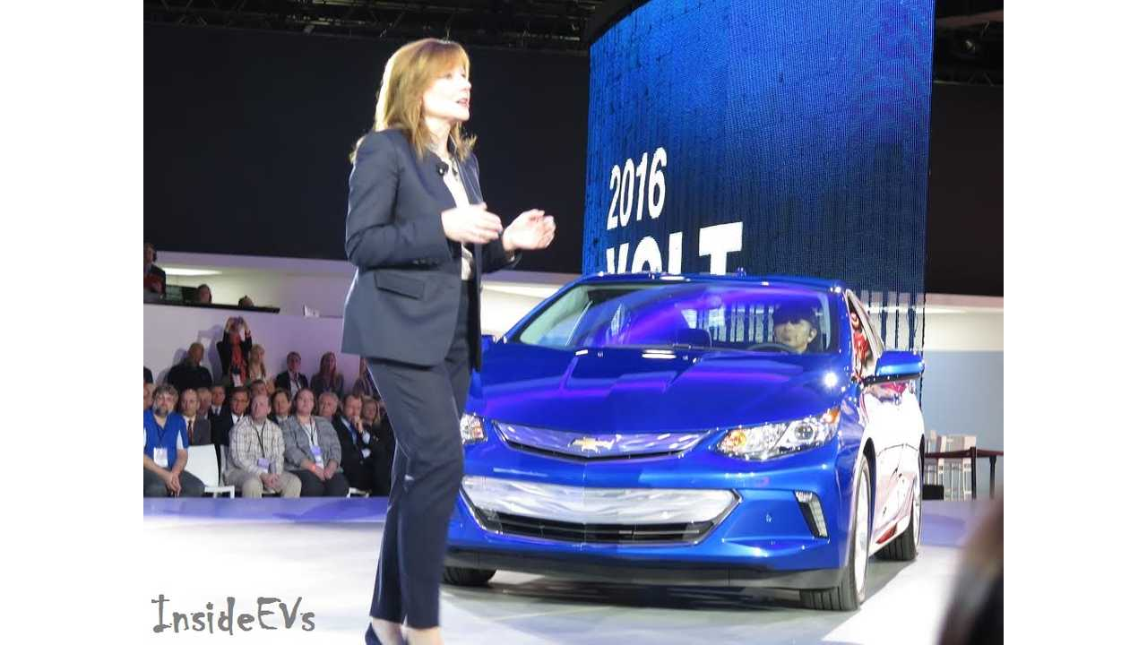 Why You Come Early: Mary Barra Does The Walk & Talk Introducing The 2016 Volt - Coming Fall of 2015