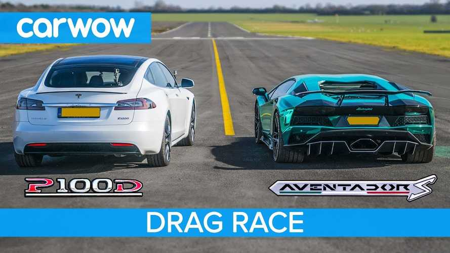 Watch Tesla Model S P100D Race Lamborghini Aventador S: Video