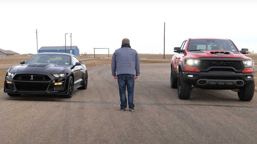 Mustang Shelby GT500 Challenges Ram TRX In A Cold-Climate Drag Race