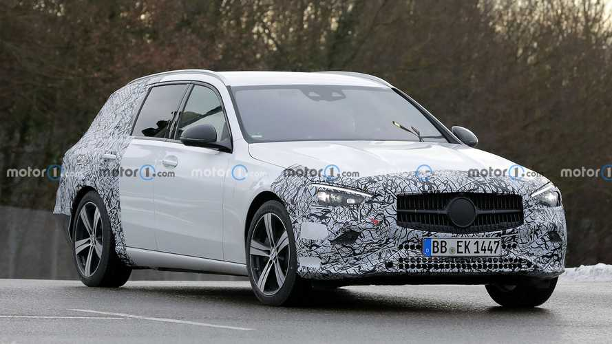 Mercedes C-Class estate spied making public appearance in Stuttgart