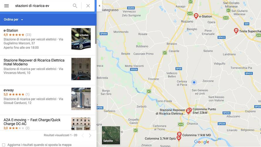 Google Maps, mappate anche le colonnine
