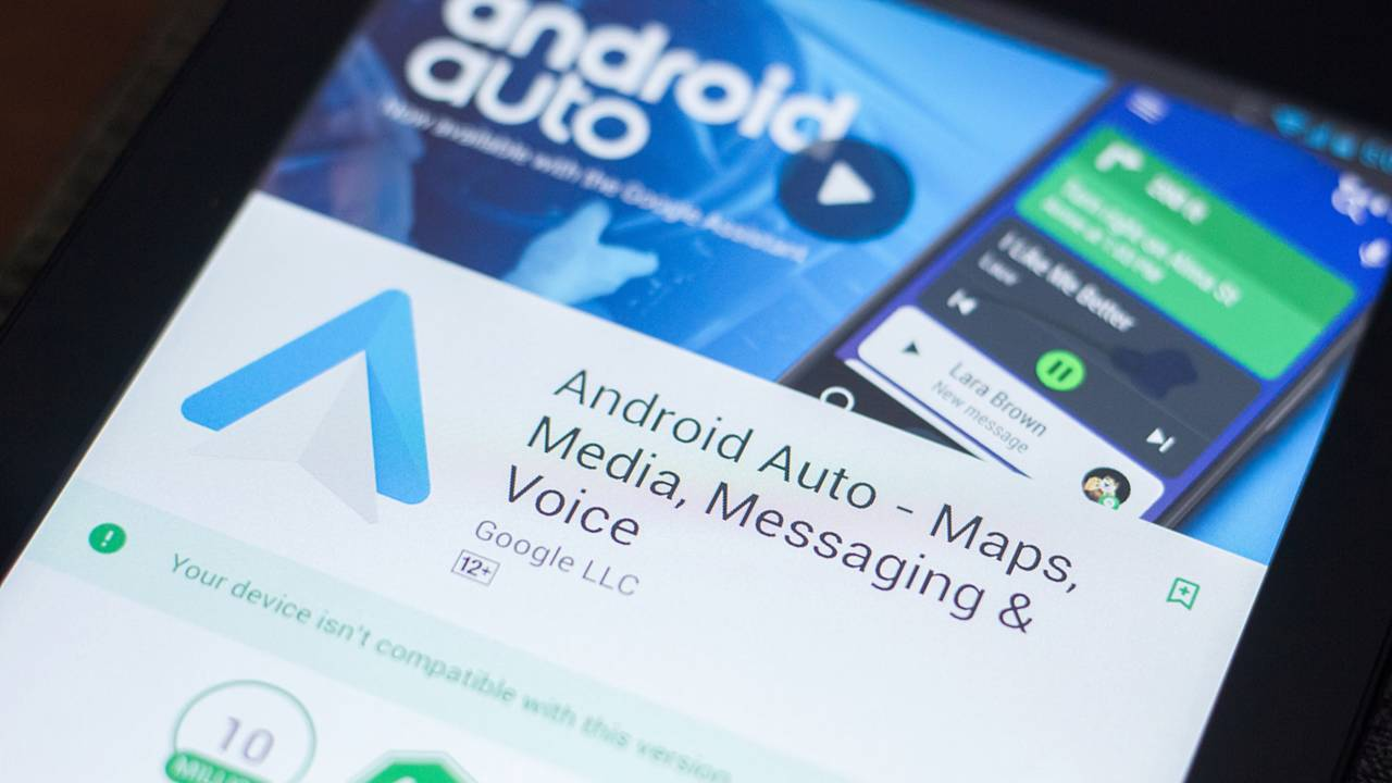 Android Auto mobile app on the display of tablet PC